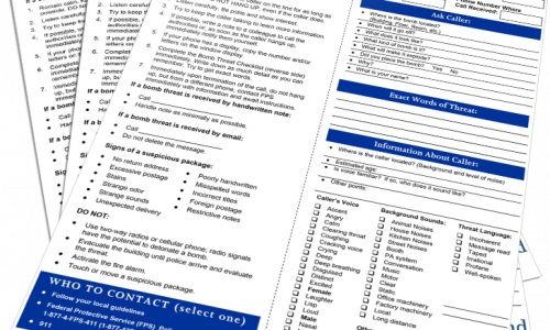 Bomb Threat Checklist and Call Procedures