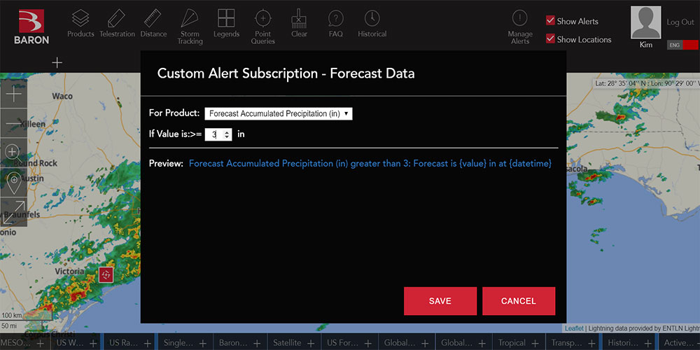 Baron Threat Net Now Offering Customizable Weather Condition Alerts