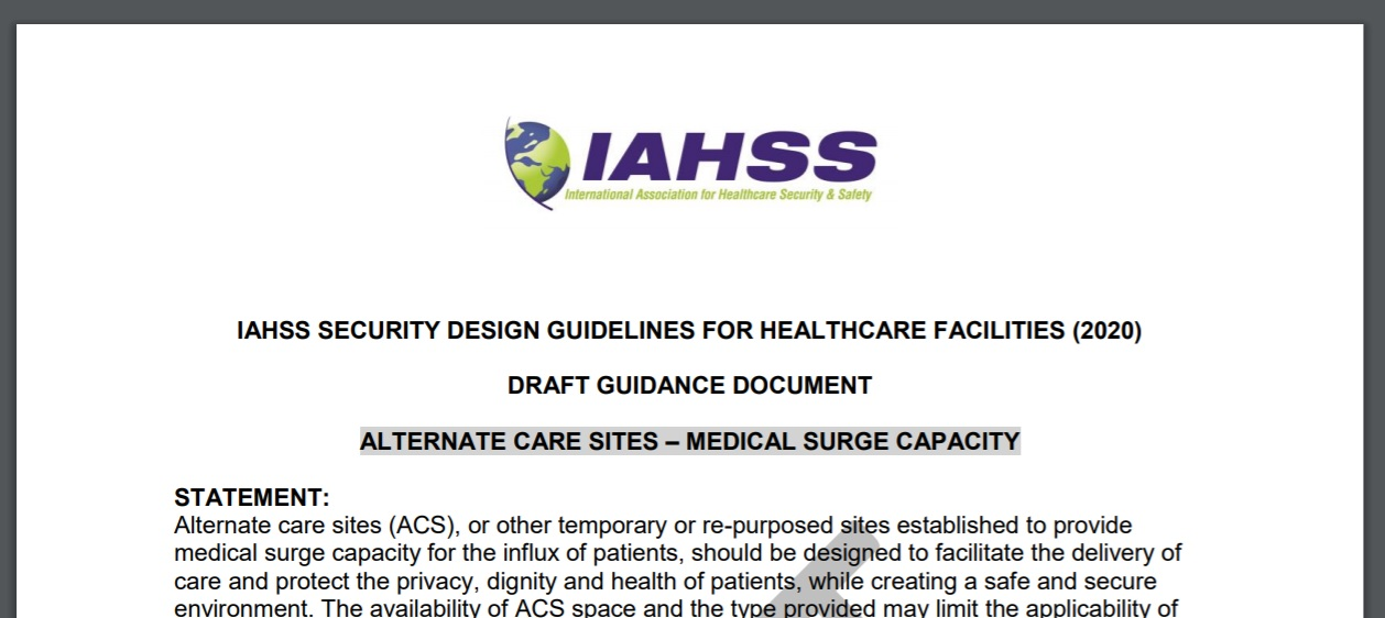 IAHSS Issues Draft Guidance for Alternate Care Site Medical Surge Capacity