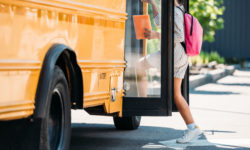 Truck Sideswipes School Bus, Almost Hits Children
